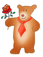 Valentine bear with Valentine rose