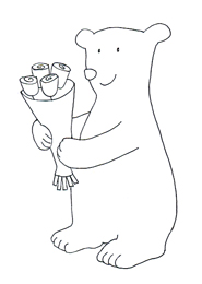 Valentine bear clipart with Valentine flowers