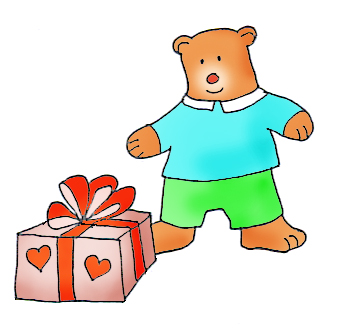 Valentine bear with Valentine gift