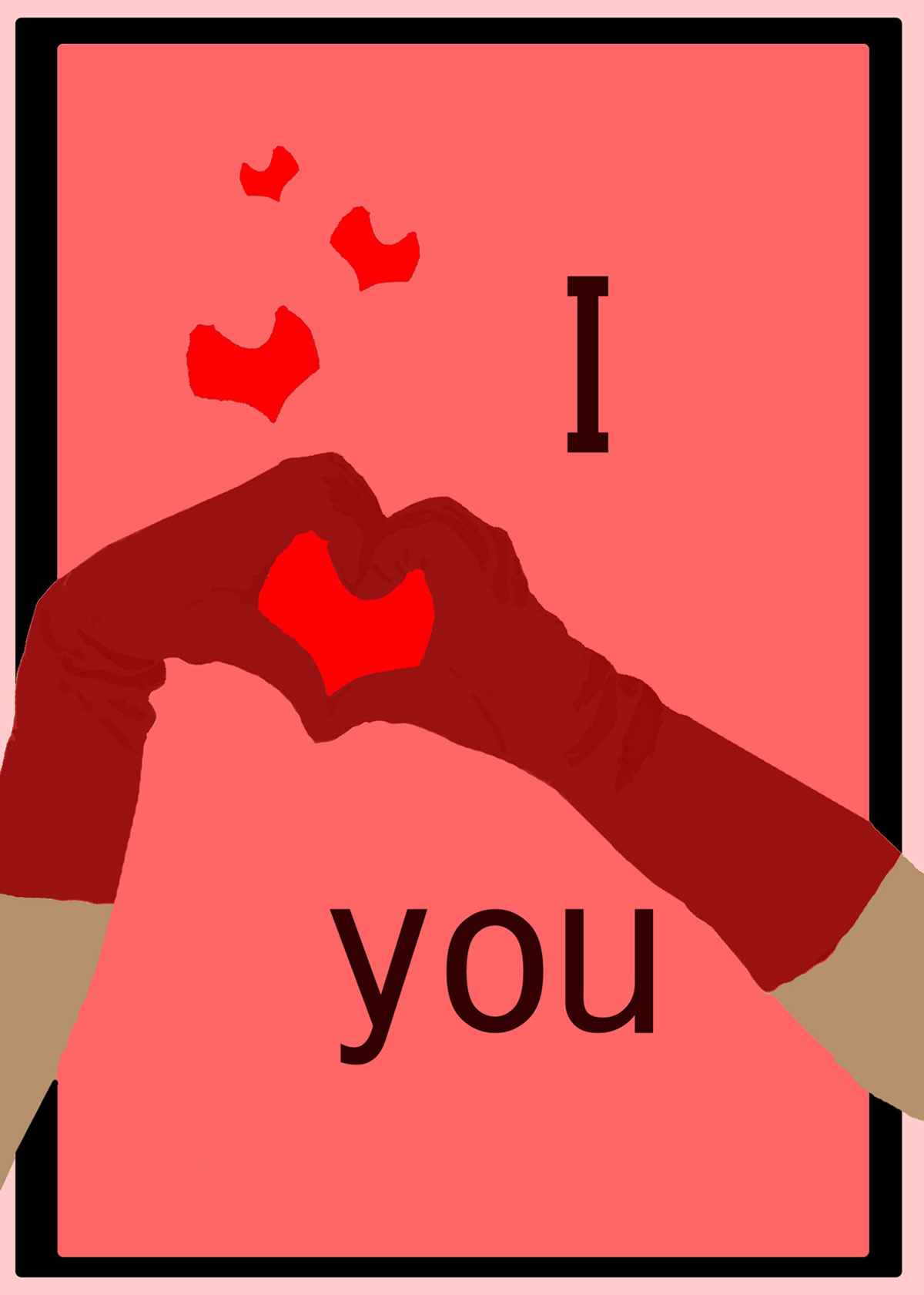 Valentine Card I Love You With Hearts