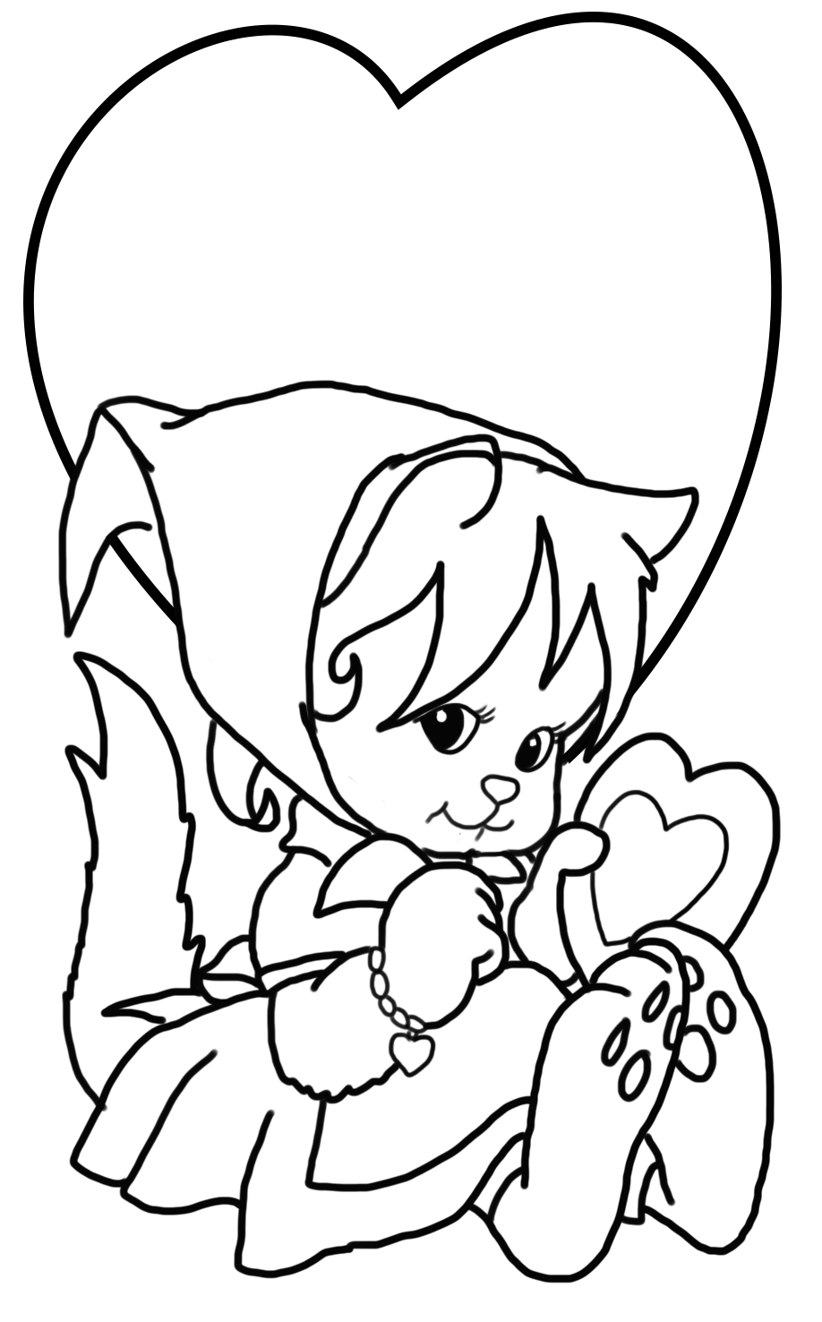 Valentine coloring page with cat and hearts