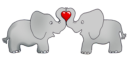 valentine clipart elephants with red heart