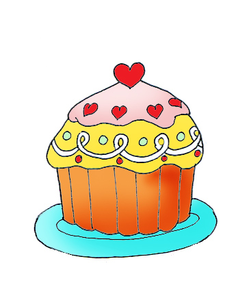 Valentine  cup cakes clipart