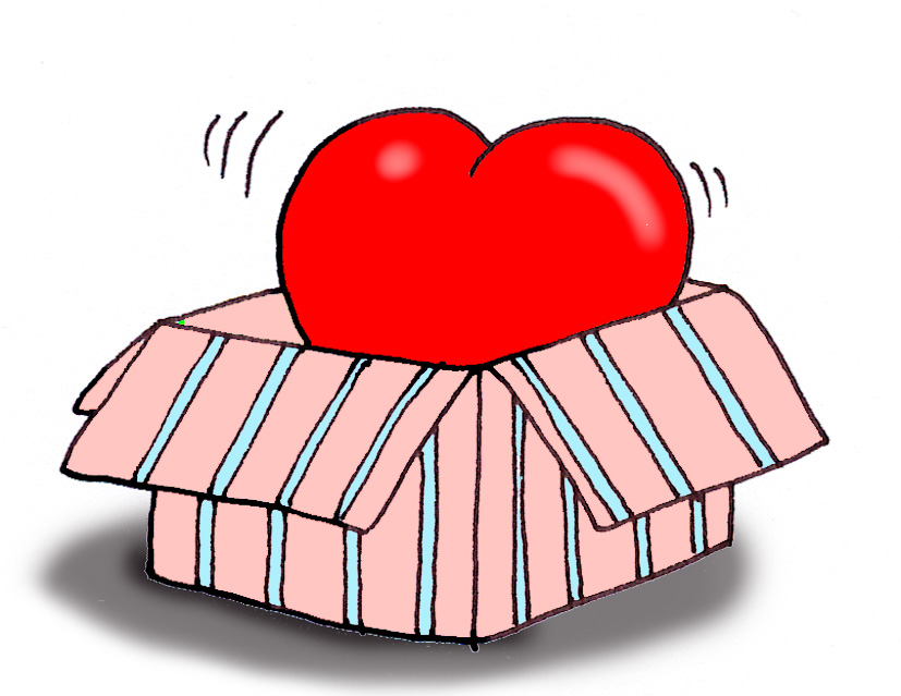 Valentine clipart red heart in a gift box