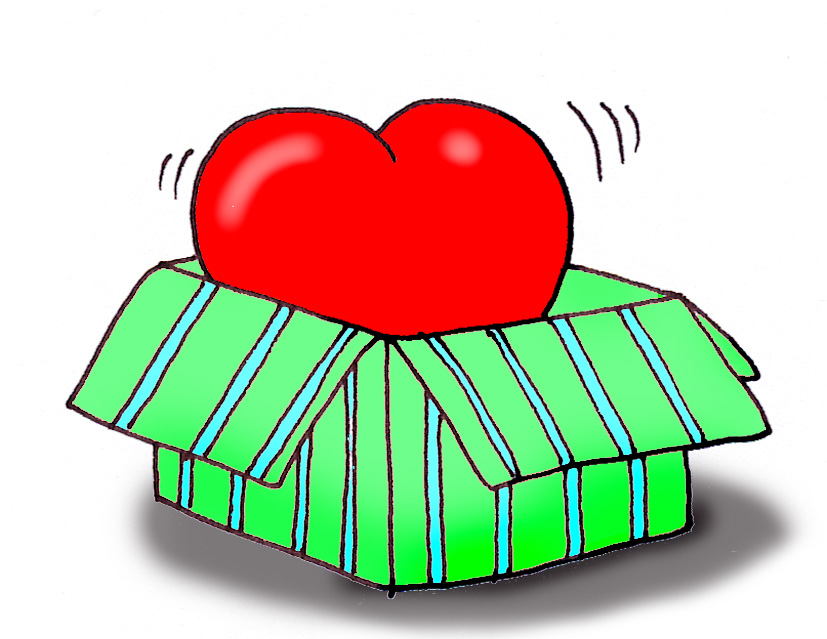 Valentines day clip art red heart gift box