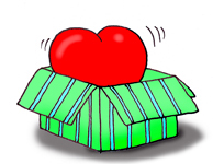 valentine clipart heart in green box