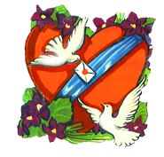 valentine heart pigeons flowers letter