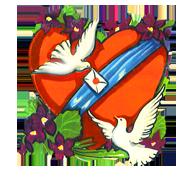 valentine heart pigeons flowers letter