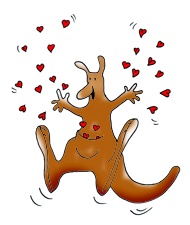 kangaroo with valentine hearts