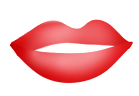 red lips in kiss for Valentine