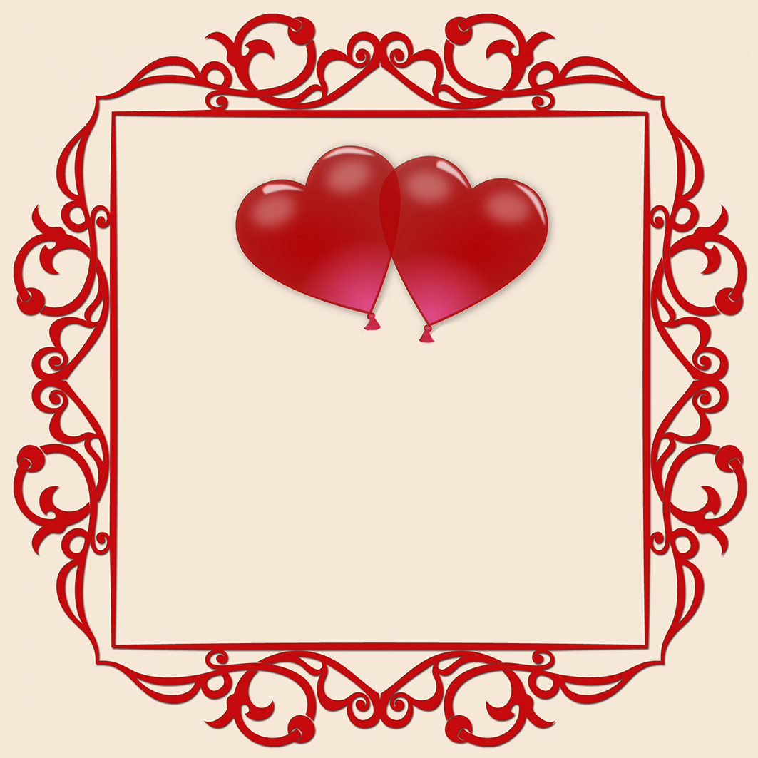 red Valentine frame with hearts