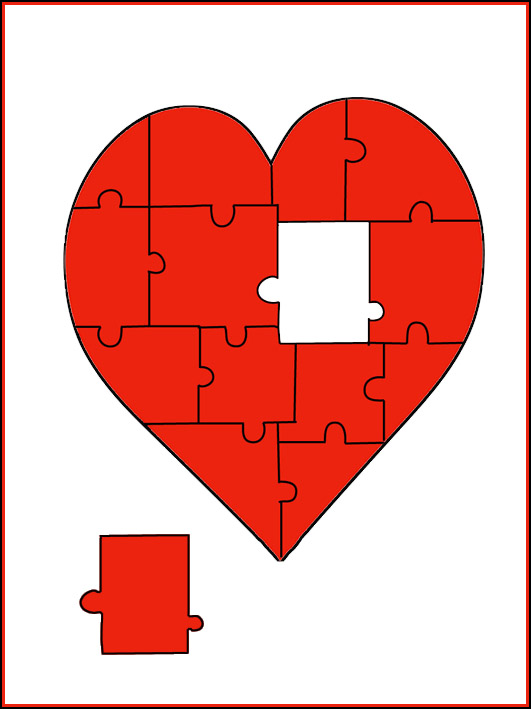 Valentine greeting cards heart as a puzzle