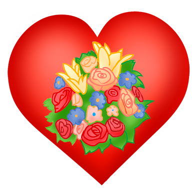 Valentine heart with flower bouquet