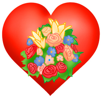 Valentine heart with flowers