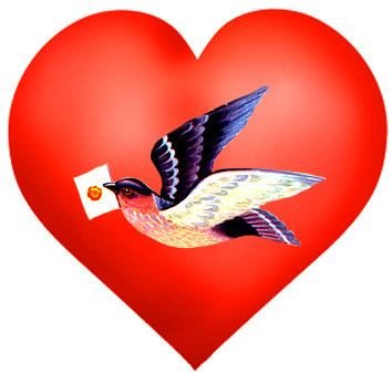 Valentines Day heart with bird and letter