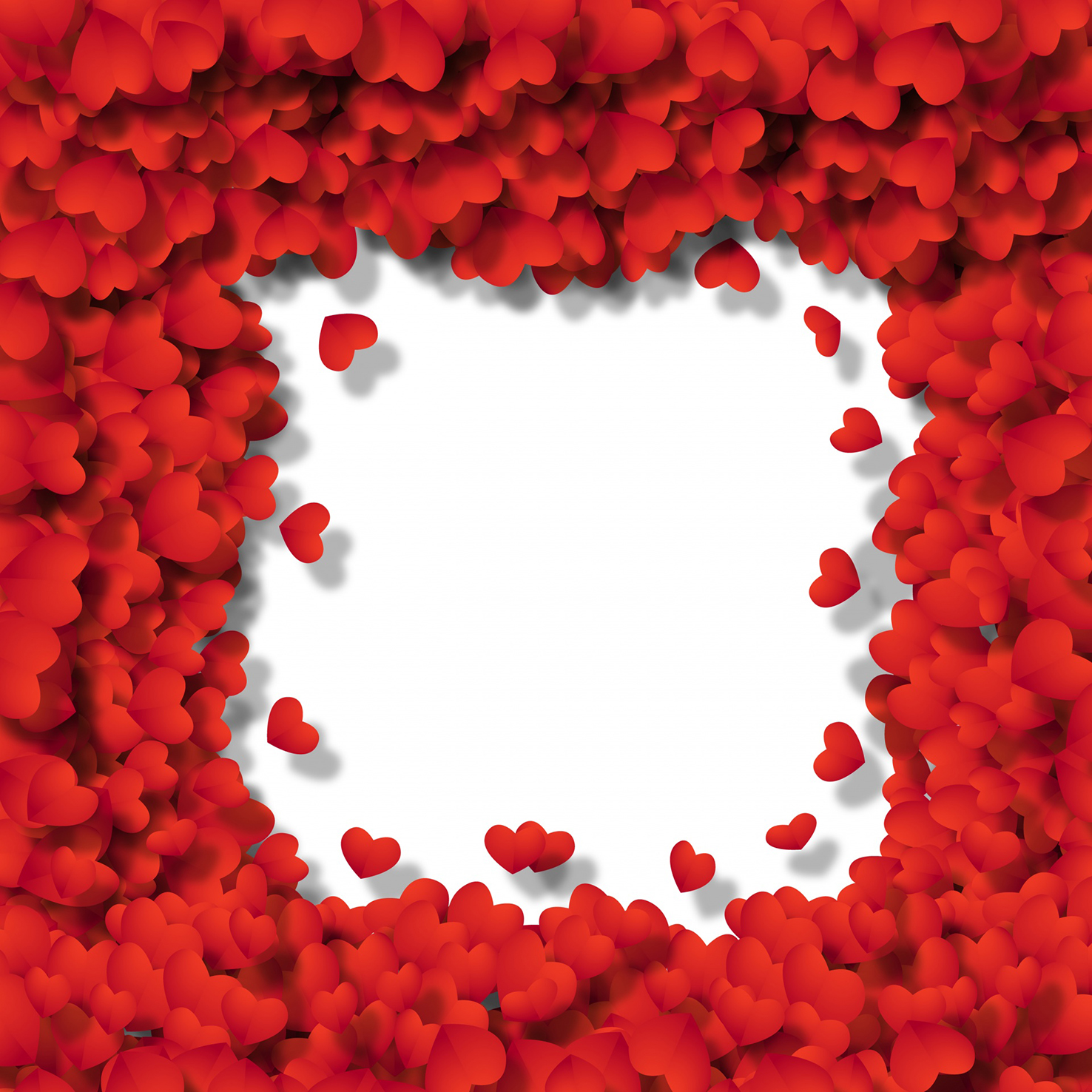 Frame with lots of red hearts