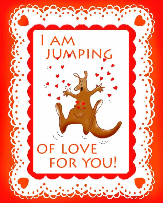 valentines day cards love kangaroo