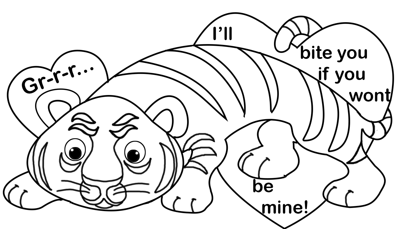 Valentine's Day coloring with tiger and hearts