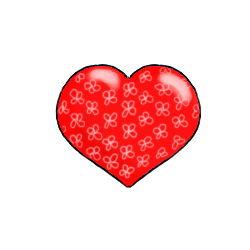 Red Valentine heart with flower pattern