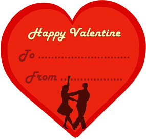 Red love heart valentine dancing couple