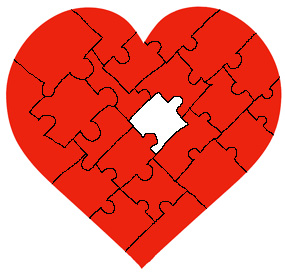 unfinished red valentine heart puzzle