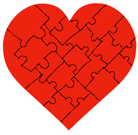 puzzle of red Valentine heart