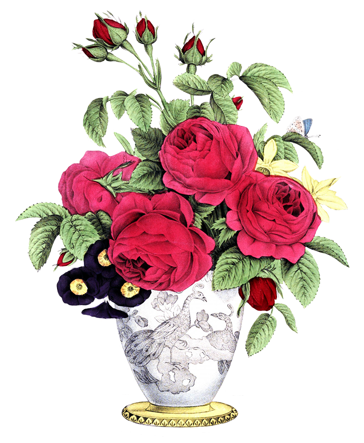 vase with red roses other flowers bouquet