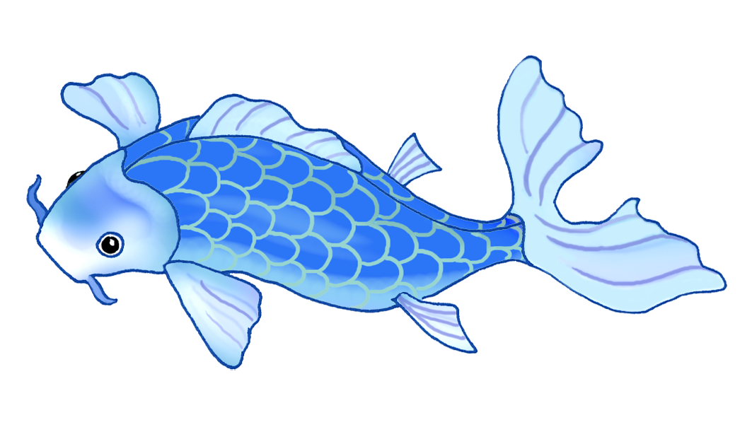 koi fish drawing very blue