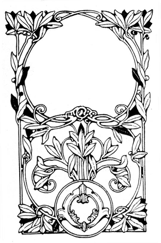 Victorian frames black white with leaves