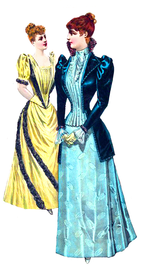 Two Victorian Las In Dresses Png