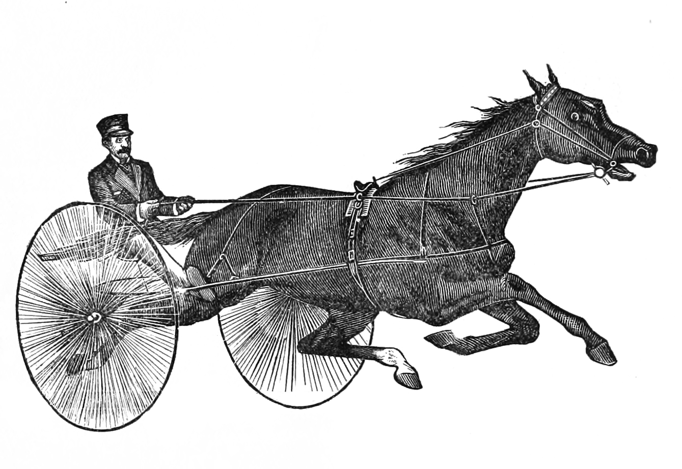 Antique drawing of trotter sulky and driver