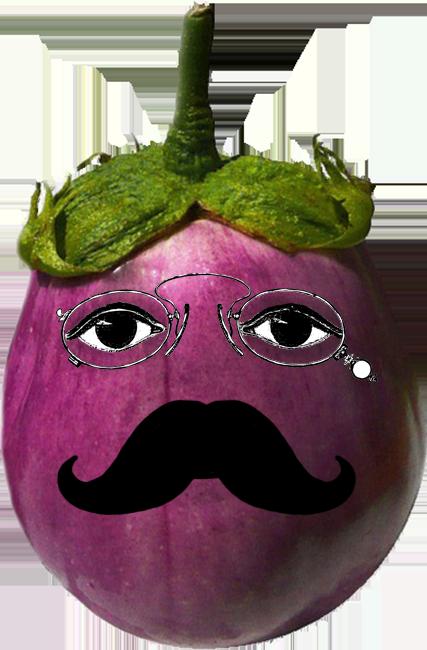 victorian eggplant cartoon head