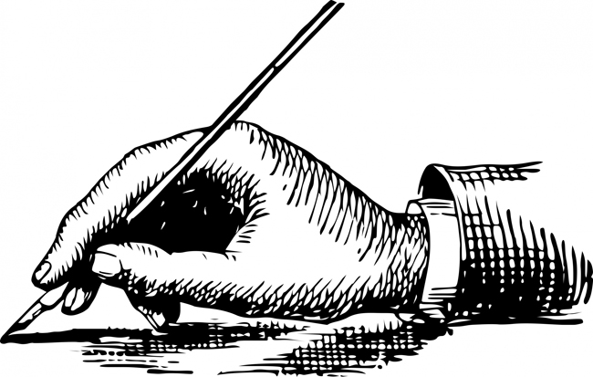 victorian illustration of writing hand