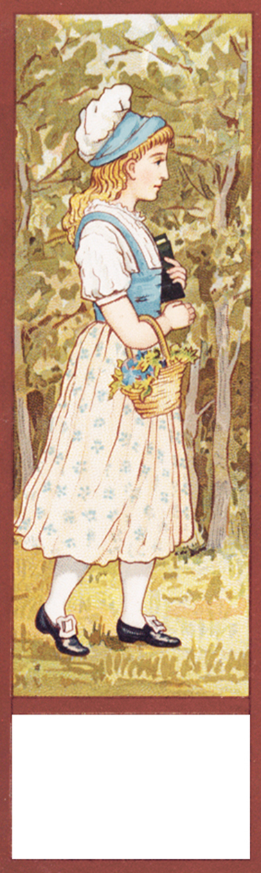 vintage motiv bookmark girl