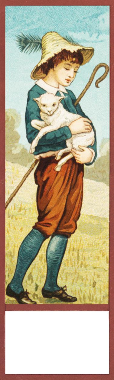 shepherd with lamb bookmark printable