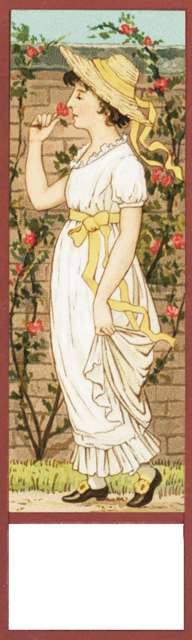 bookmark vintage girl in rose garden