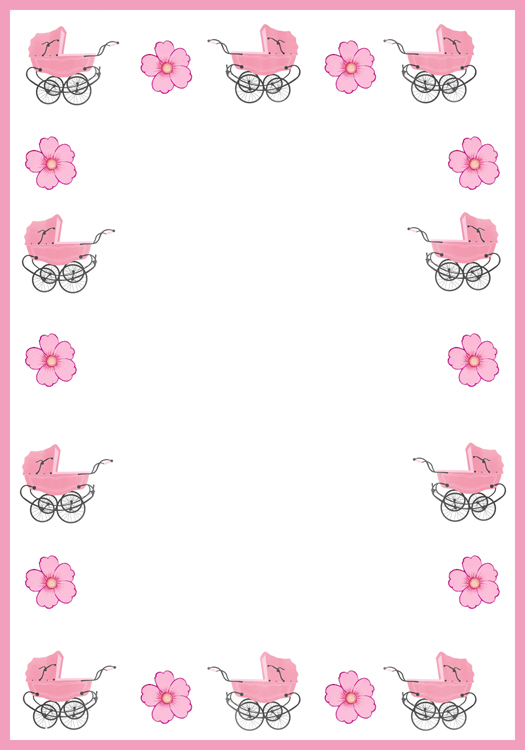 Victorian frame with prams in pink
