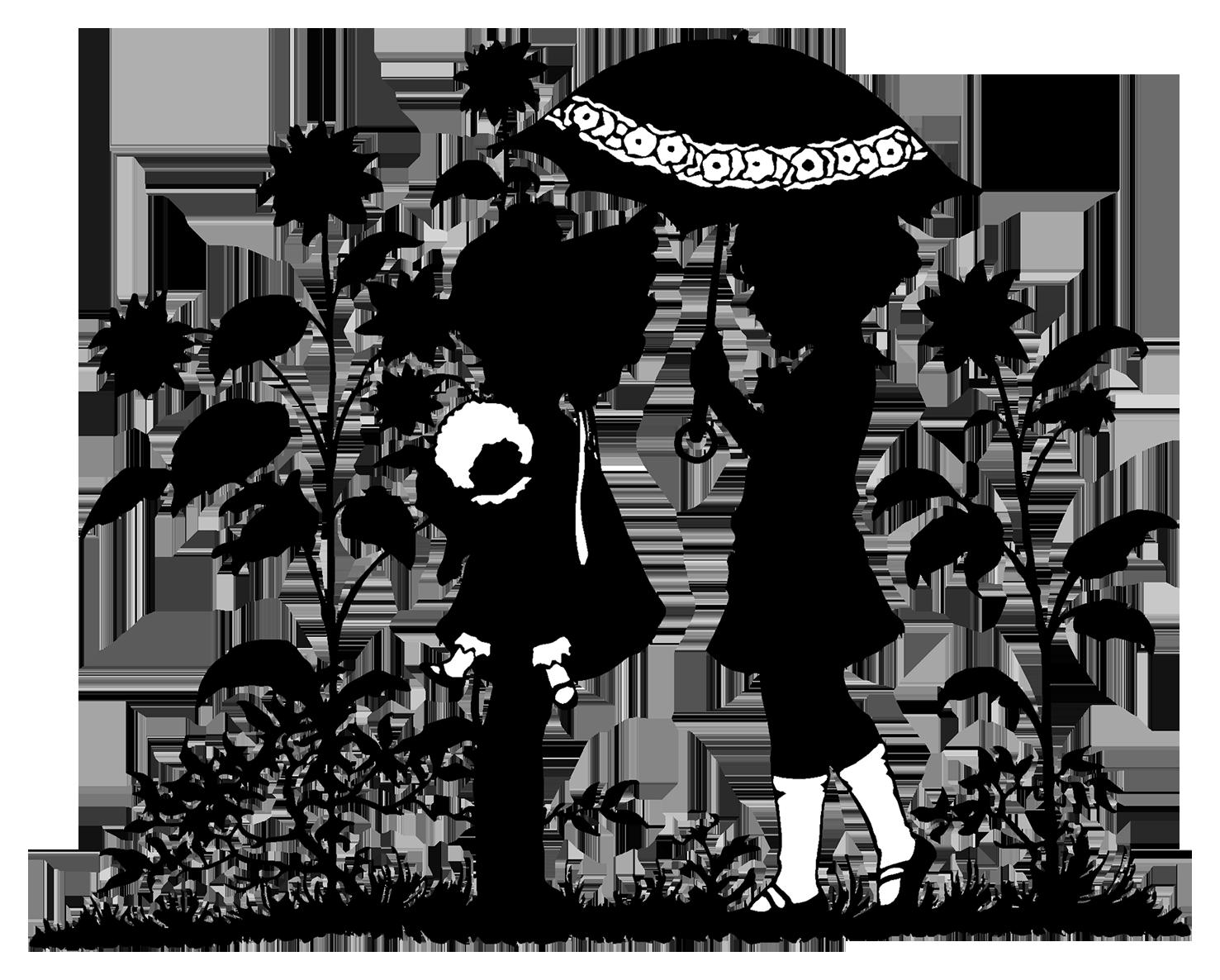 Victorian silhouette children in garden