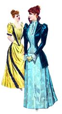 Victorian clipart two fashionable women