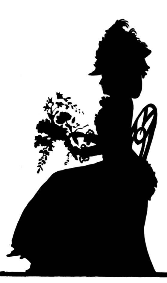 young woman with flowers silhouette