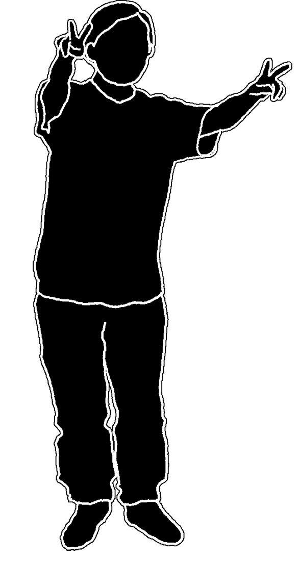 silhouette child victory sign