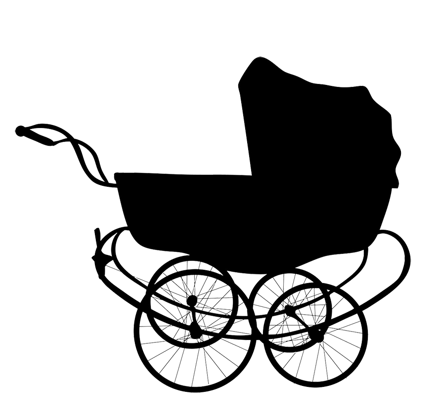 vintage silhouette baby carriage