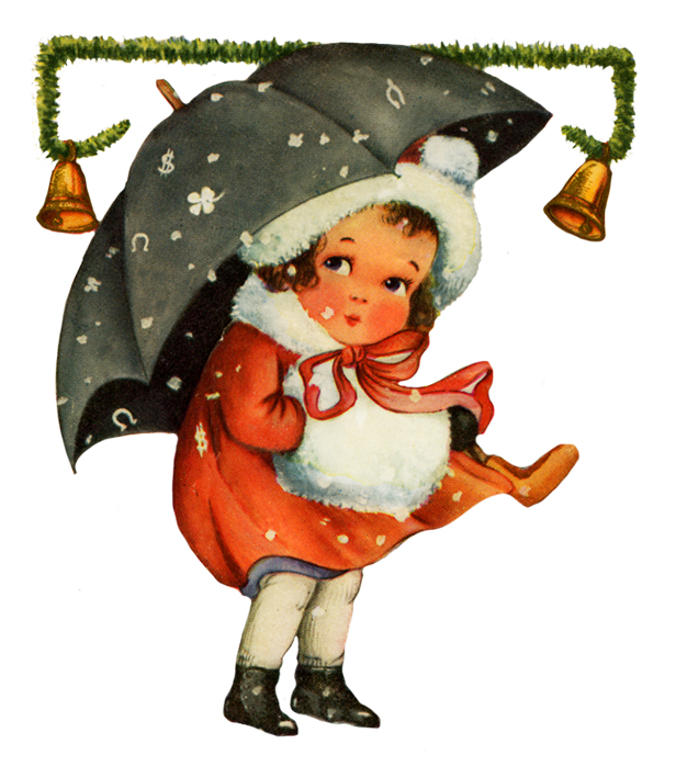 Vintage Christmas clip art girl snow