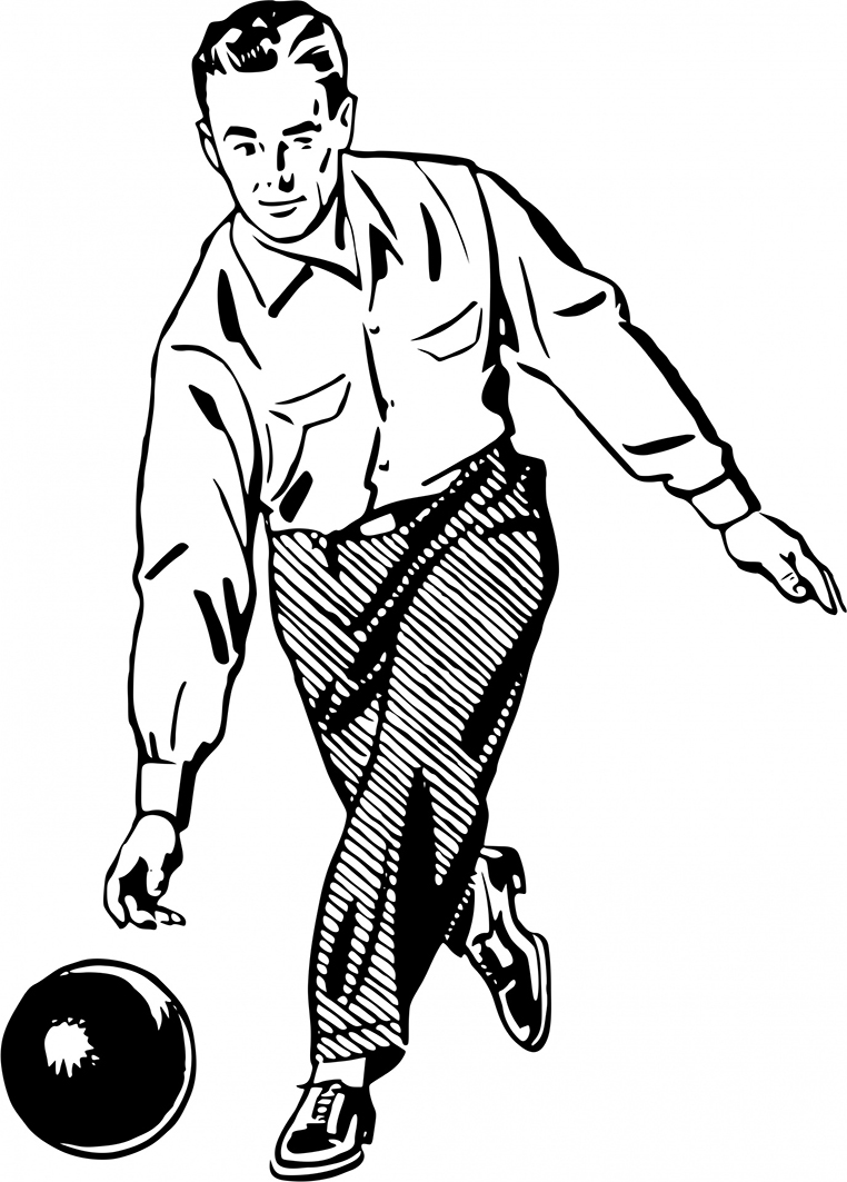 Vintage drawing man bowling