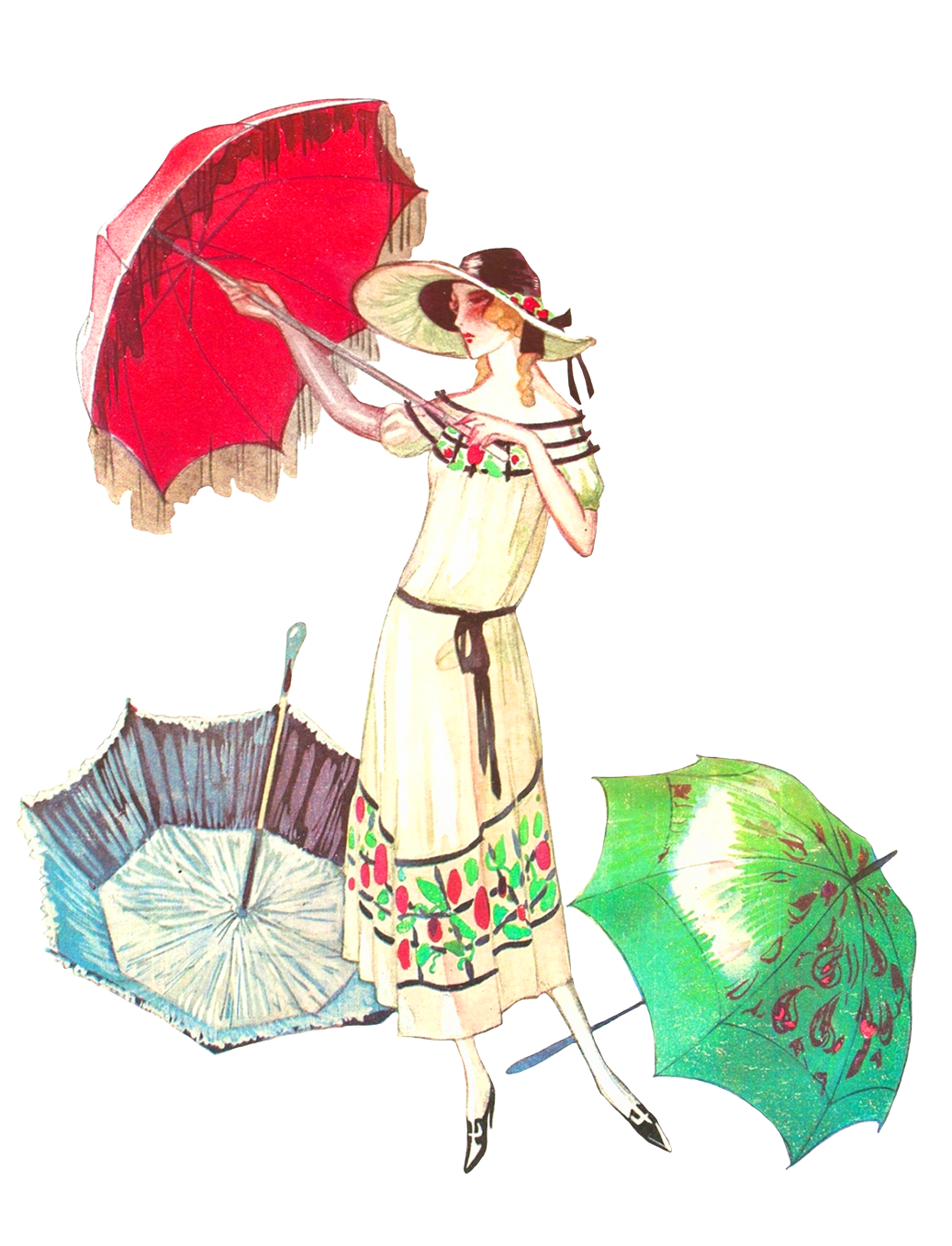 vintage drawing woman with parasol and umbrella