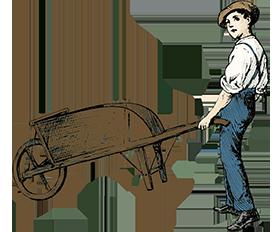 vintage garden clipart boy wheelbarrow colored