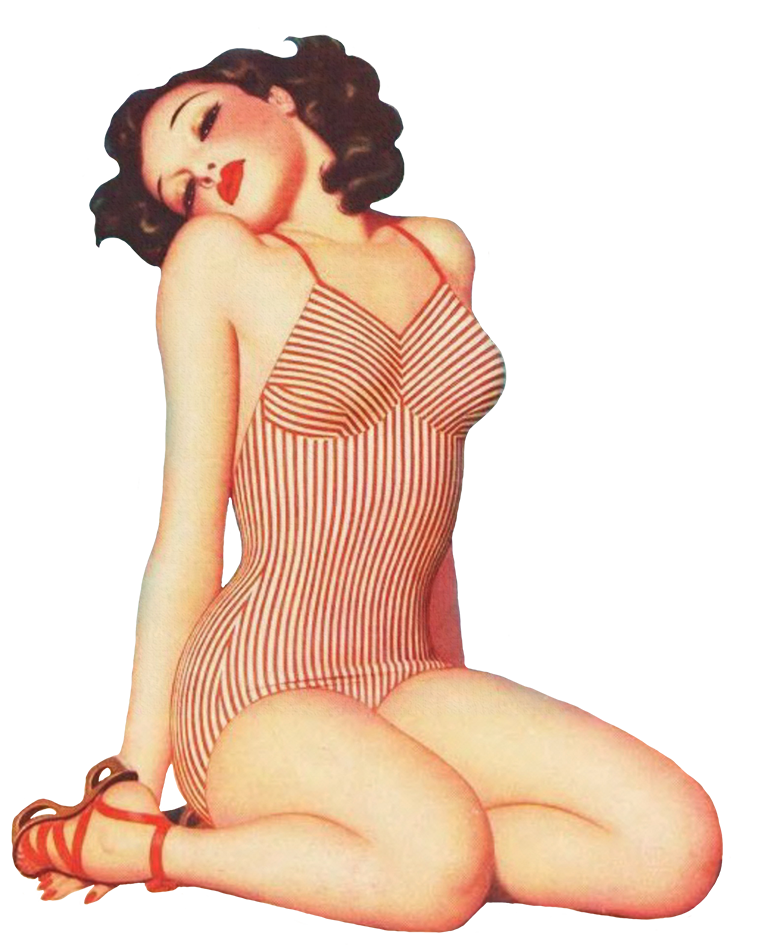 vintage clip art girl in bathing suit