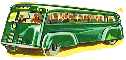 vintage green bus image