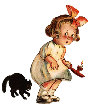 vintage Halloween clipart girl black cat candle