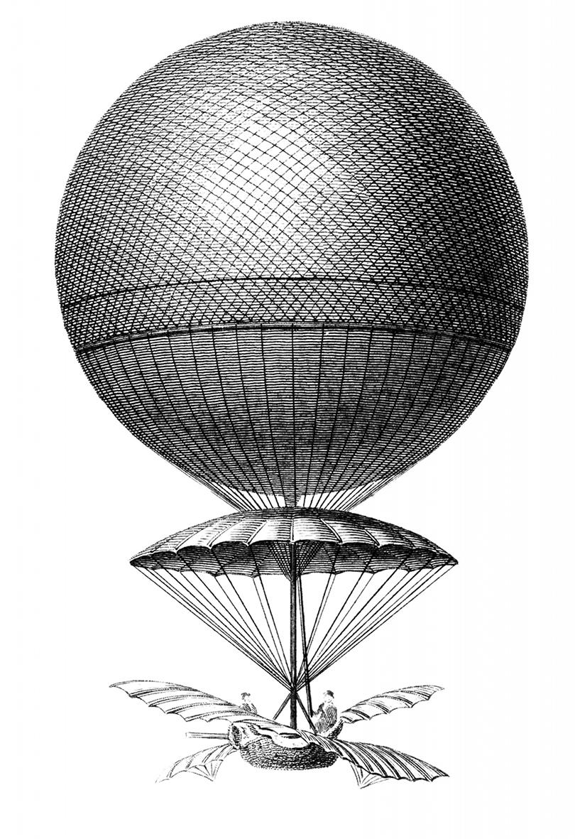 Vintage hot air balloon image